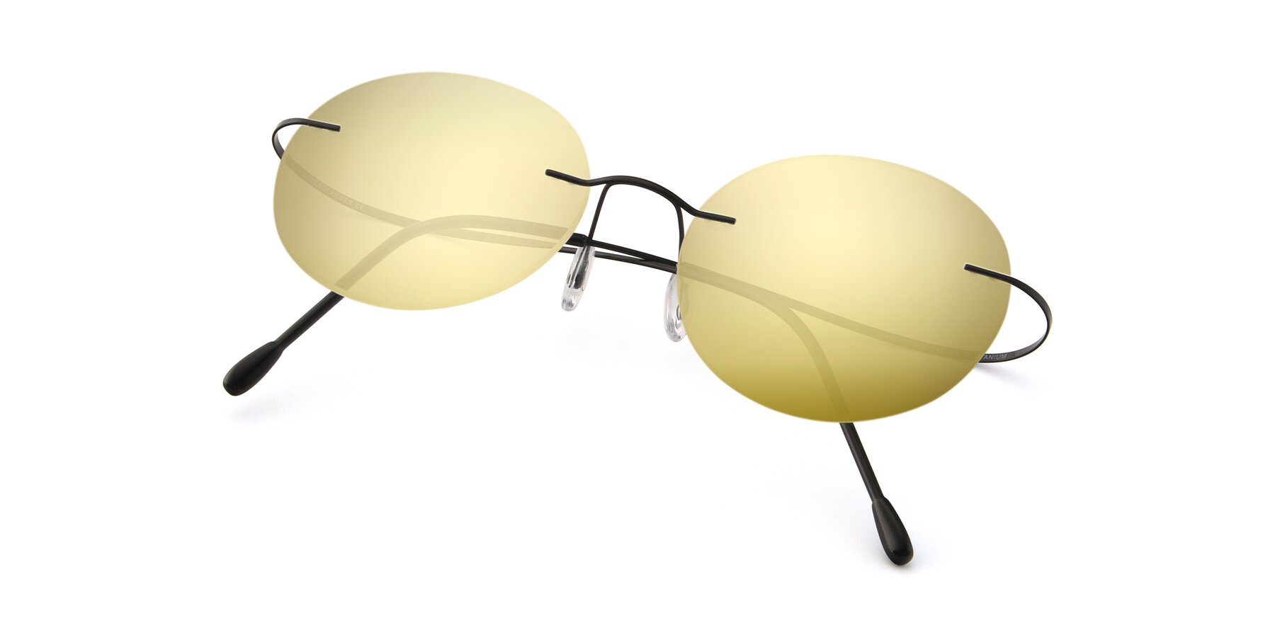 View of Leon in Black with Gold Mirrored Lenses