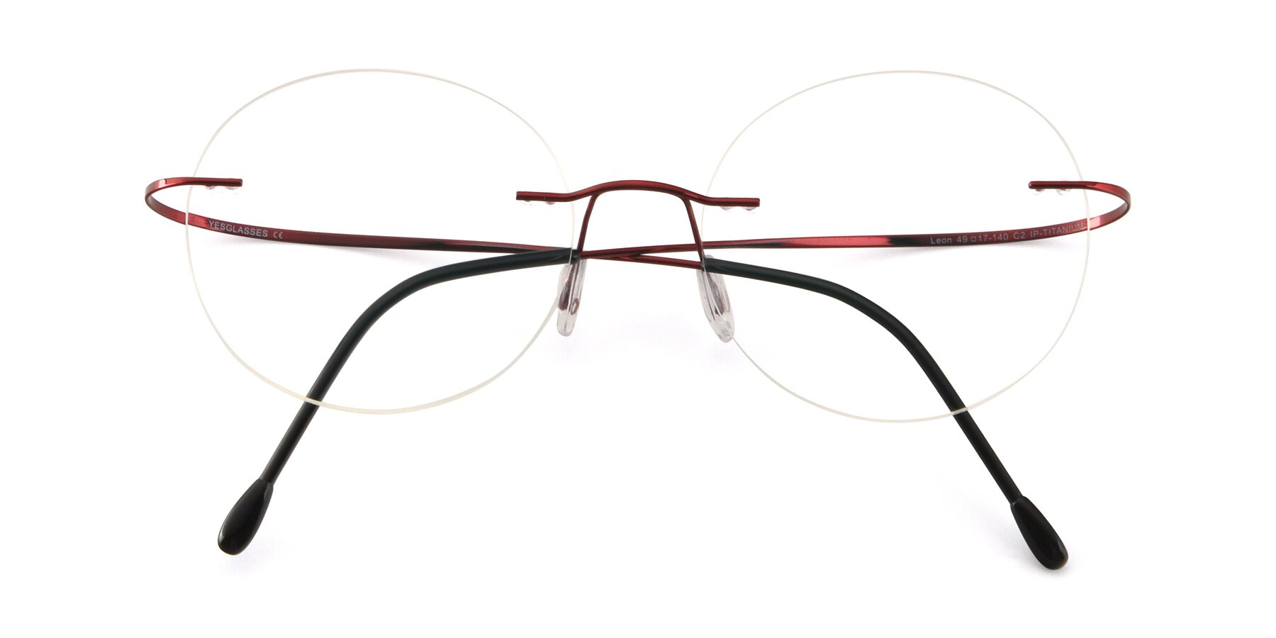 Folded Front of Leon in Wine with Clear Blue Light Blocking Lenses