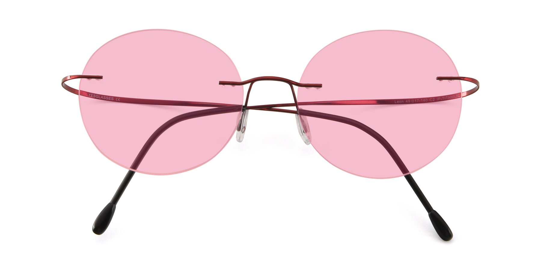 Folded Front of Leon in Wine with Medium Pink Tinted Lenses