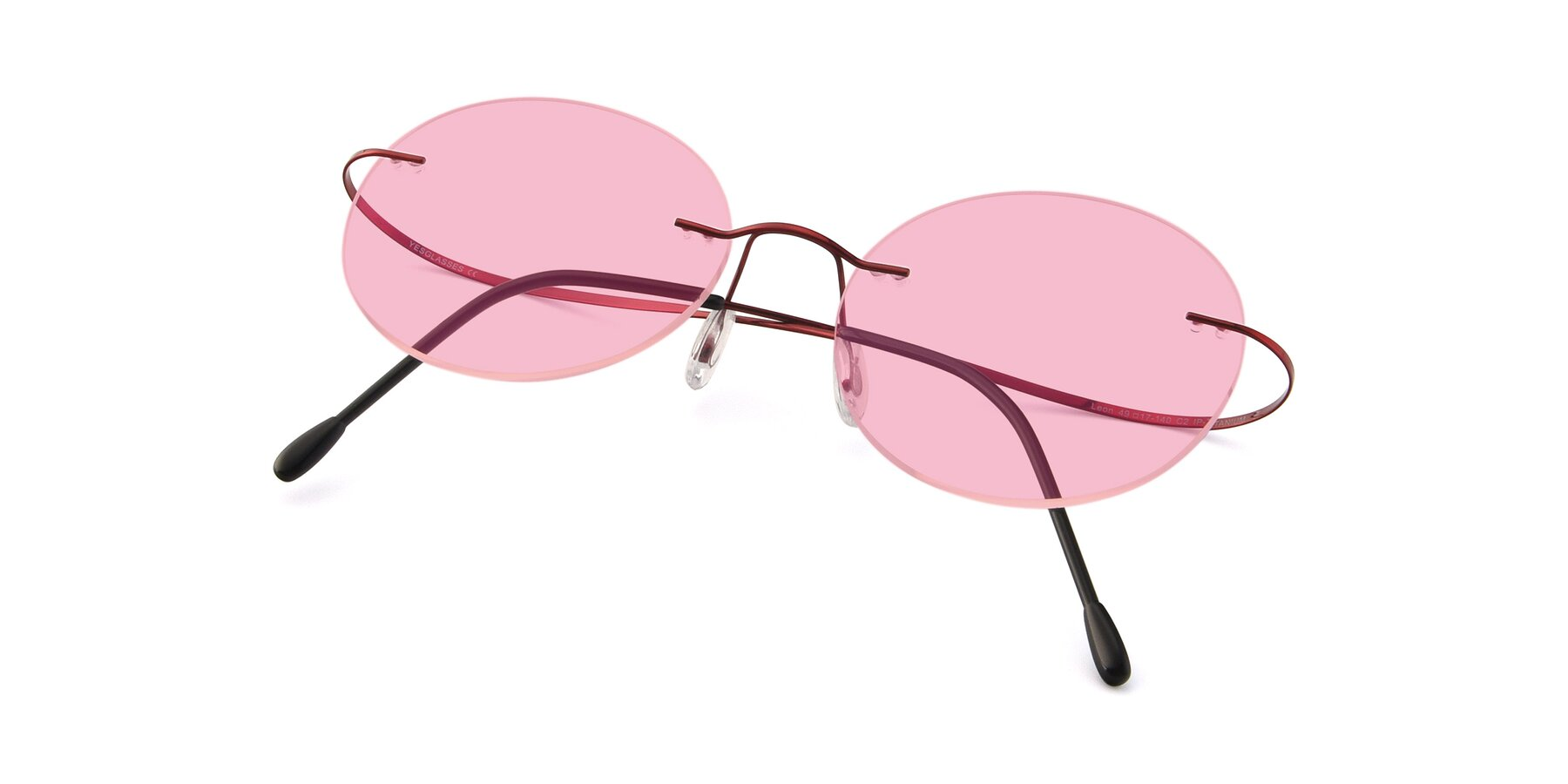 View of Leon in Wine with Medium Pink Tinted Lenses