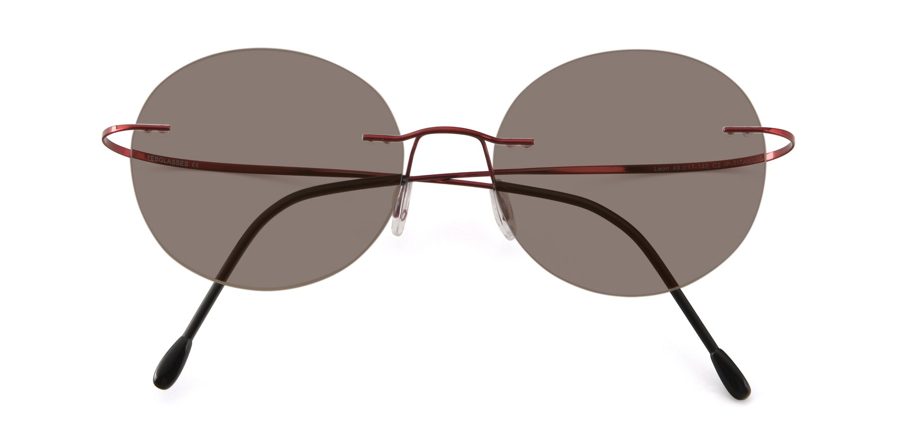 Folded Front of Leon in Wine with Medium Brown Tinted Lenses
