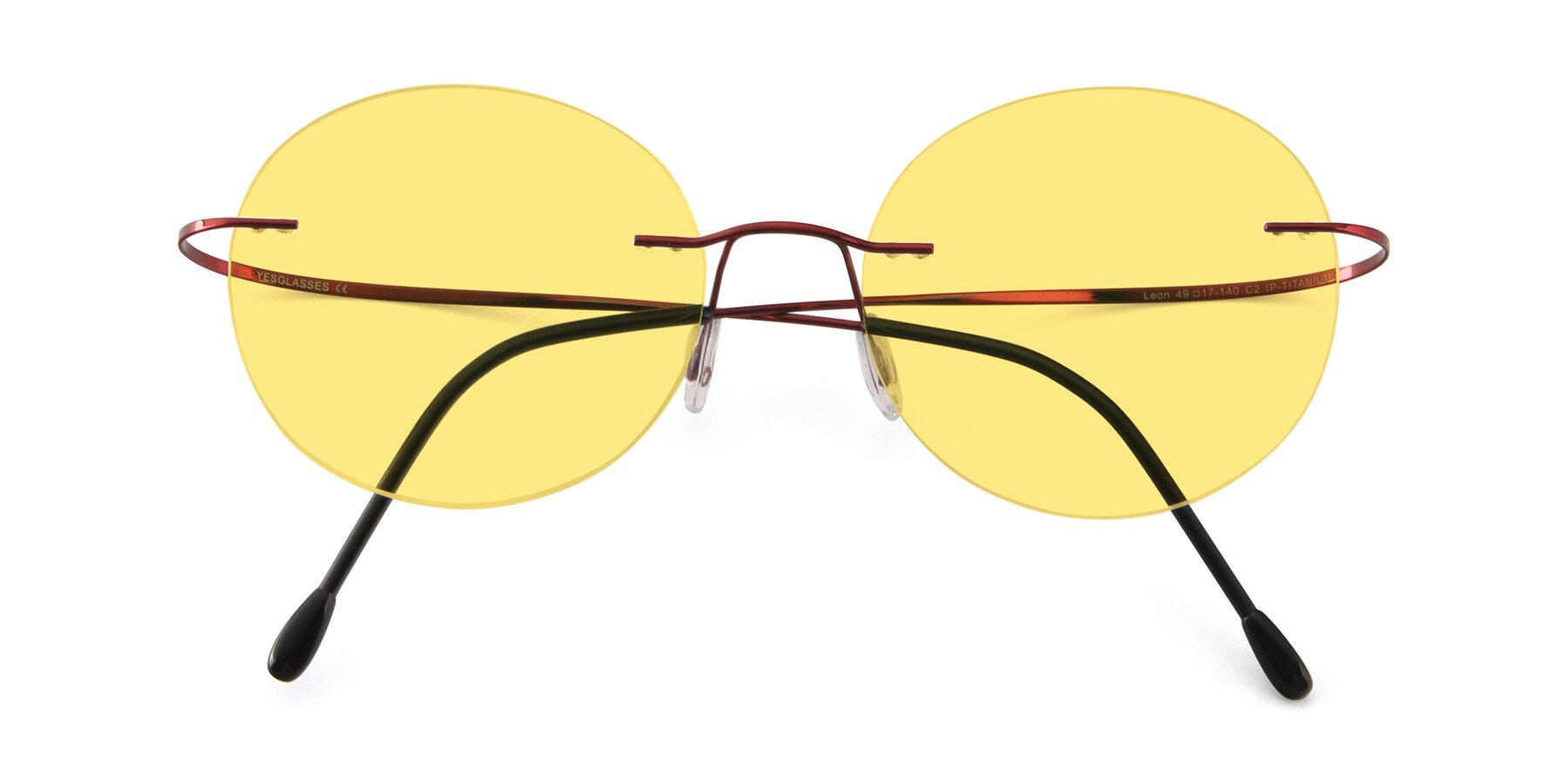 Folded Front of Leon in Wine with Medium Yellow Tinted Lenses