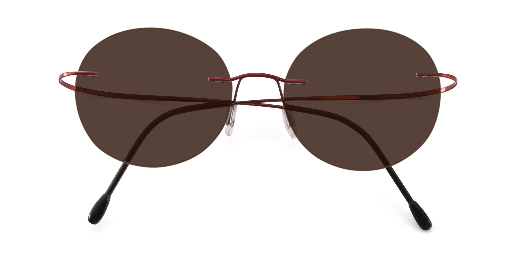 Folded Front of Leon in Wine with Brown Tinted Lenses