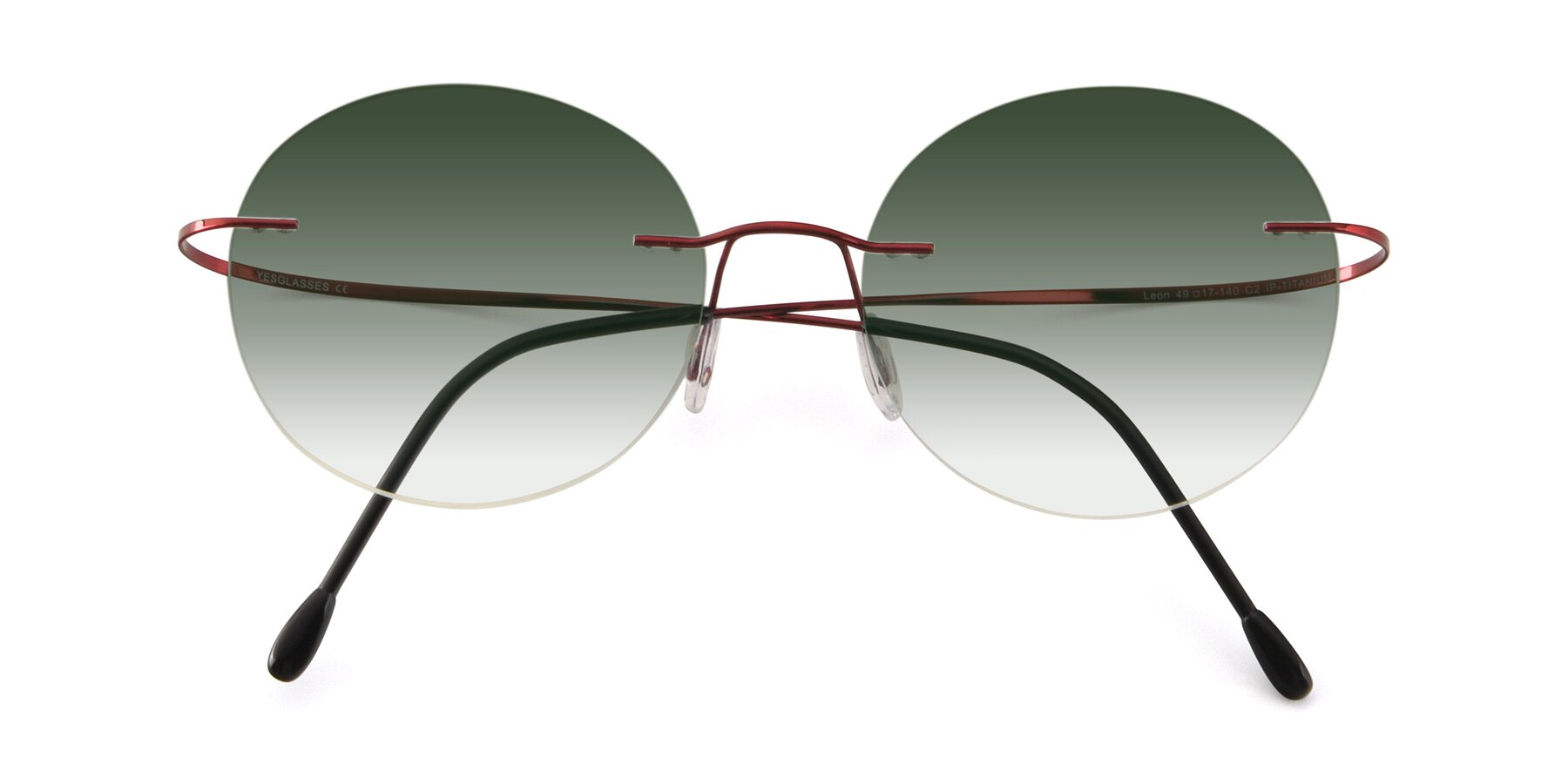 Folded Front of Leon in Wine with Green Gradient Lenses