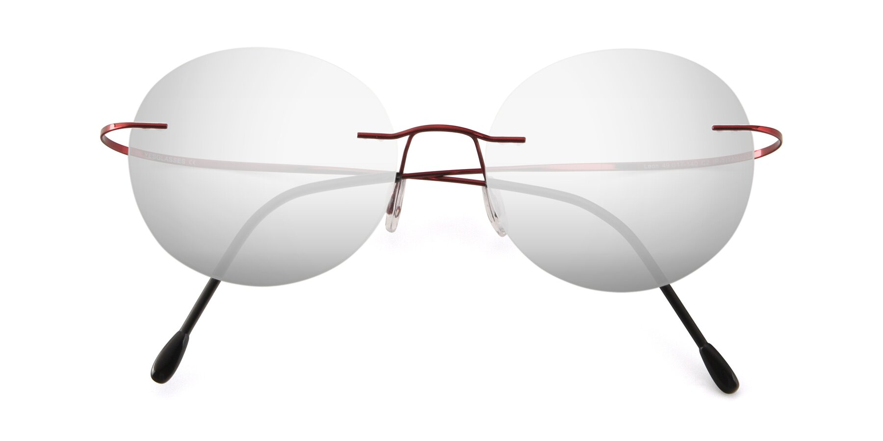 Folded Front of Leon in Wine with Silver Mirrored Lenses