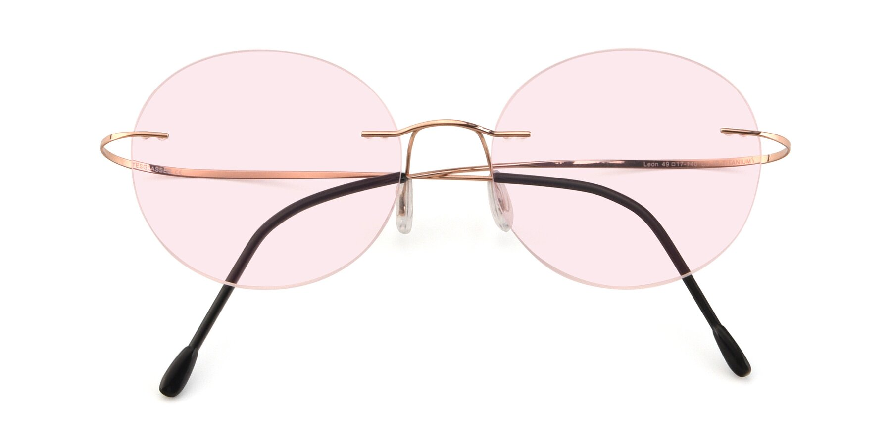 Folded Front of Leon in Rose Gold with Light Pink Tinted Lenses