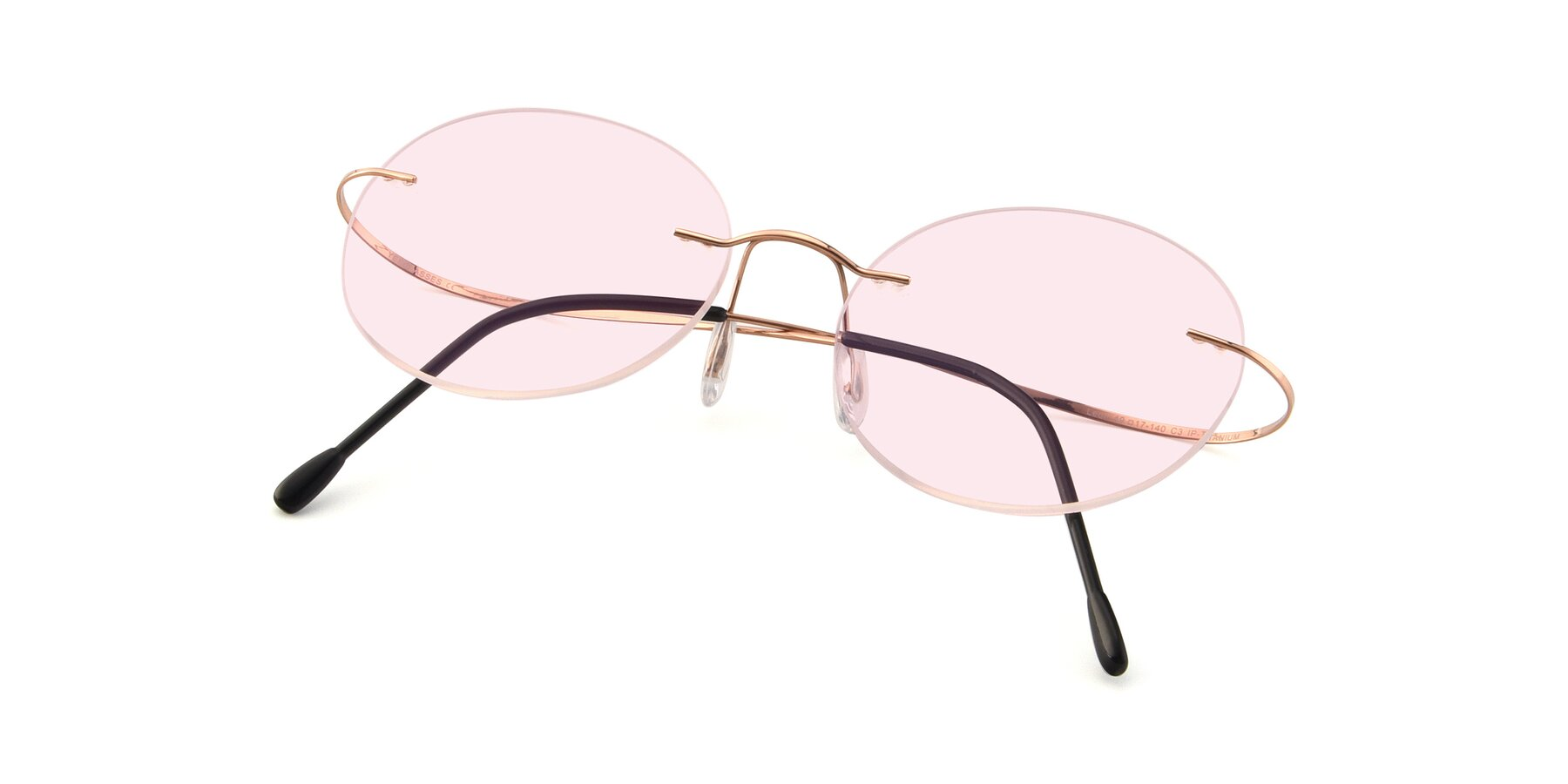 View of Leon in Rose Gold with Light Pink Tinted Lenses