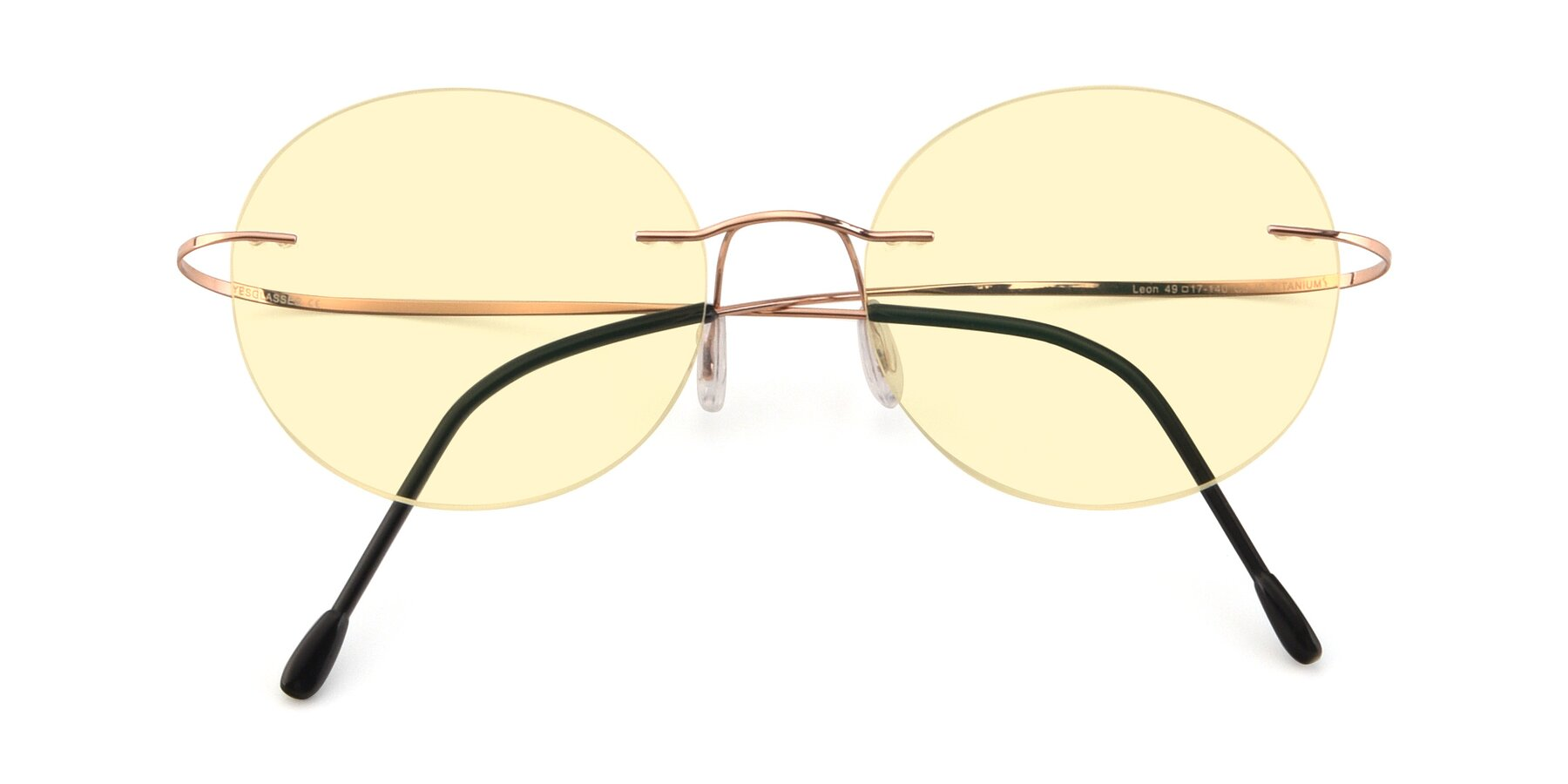 Folded Front of Leon in Rose Gold with Light Yellow Tinted Lenses