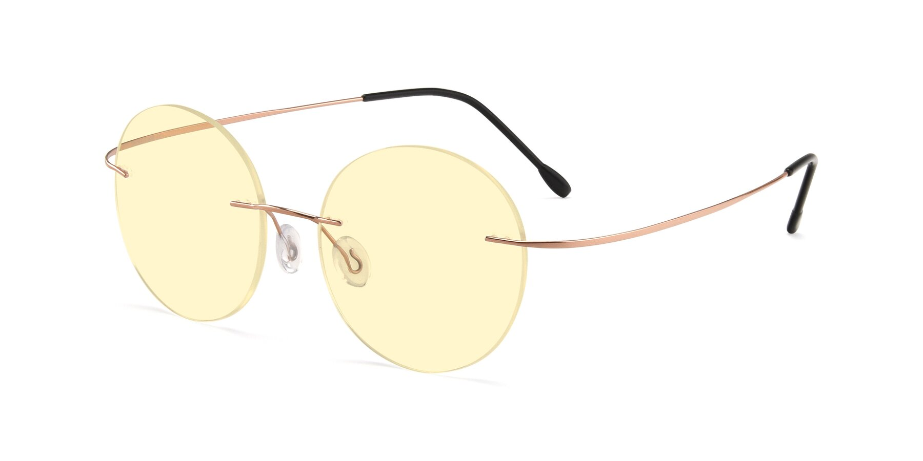 Angle of Leon in Rose Gold with Light Yellow Tinted Lenses