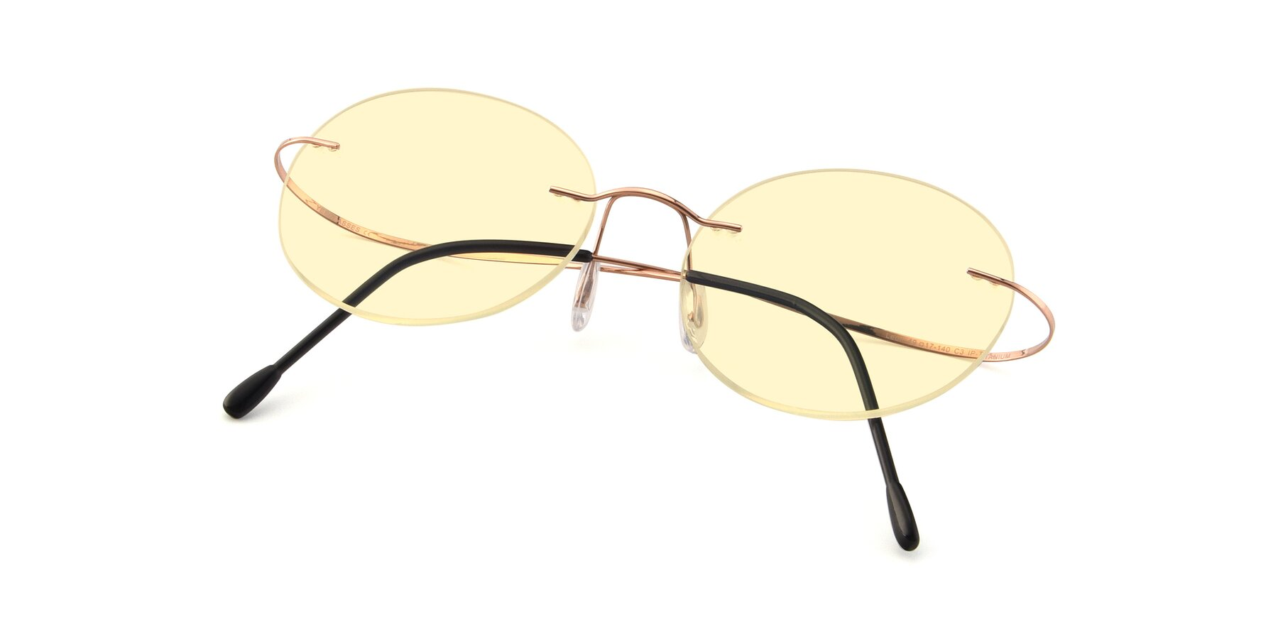 View of Leon in Rose Gold with Light Yellow Tinted Lenses