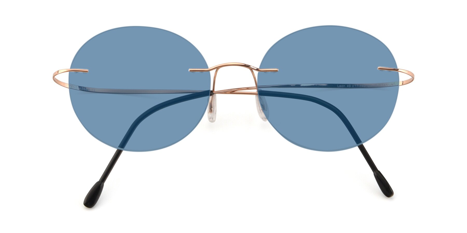 Folded Front of Leon in Rose Gold with Medium Blue Tinted Lenses