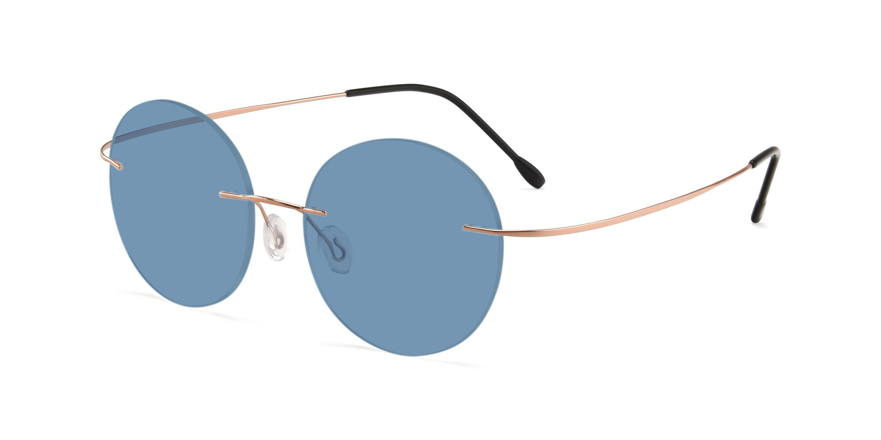 Angle of Leon in Rose Gold with Medium Blue Tinted Lenses