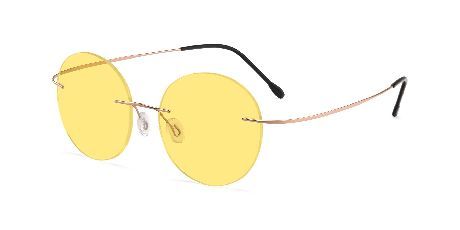 Angle of Leon in Rose Gold with Medium Yellow Tinted Lenses