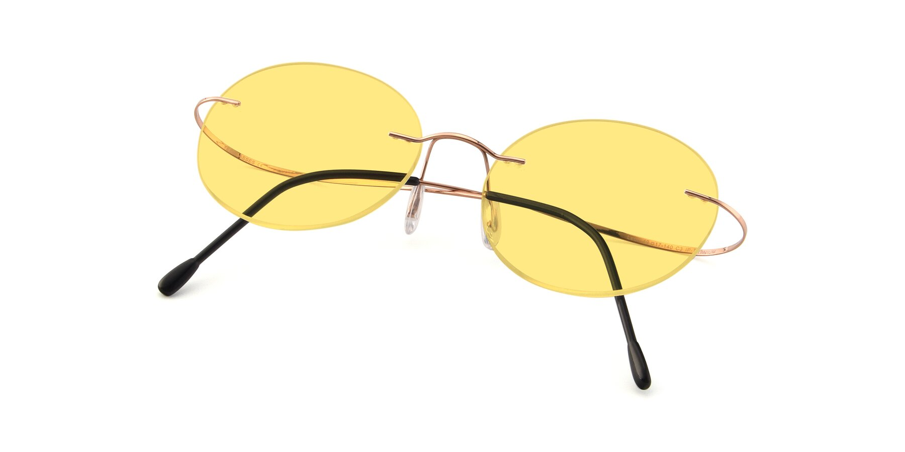 View of Leon in Rose Gold with Medium Yellow Tinted Lenses