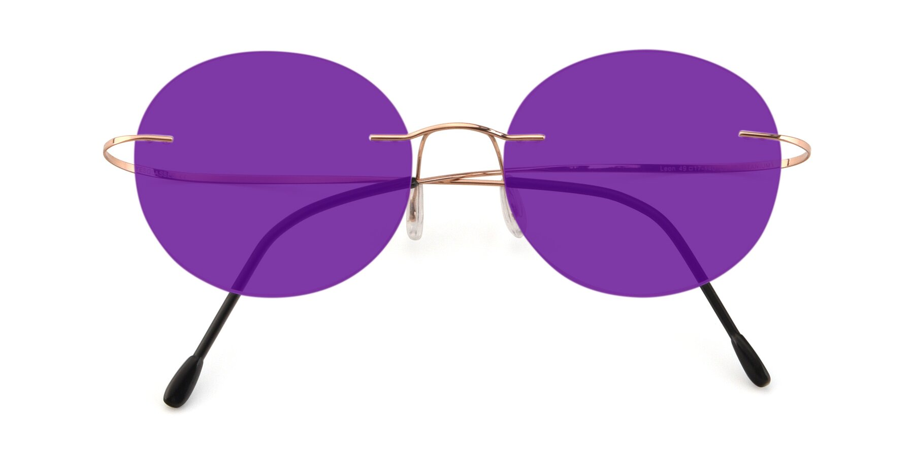 Folded Front of Leon in Rose Gold with Purple Tinted Lenses
