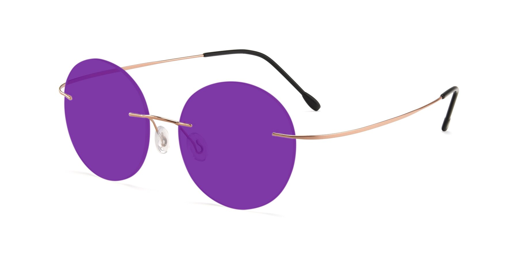 Angle of Leon in Rose Gold with Purple Tinted Lenses
