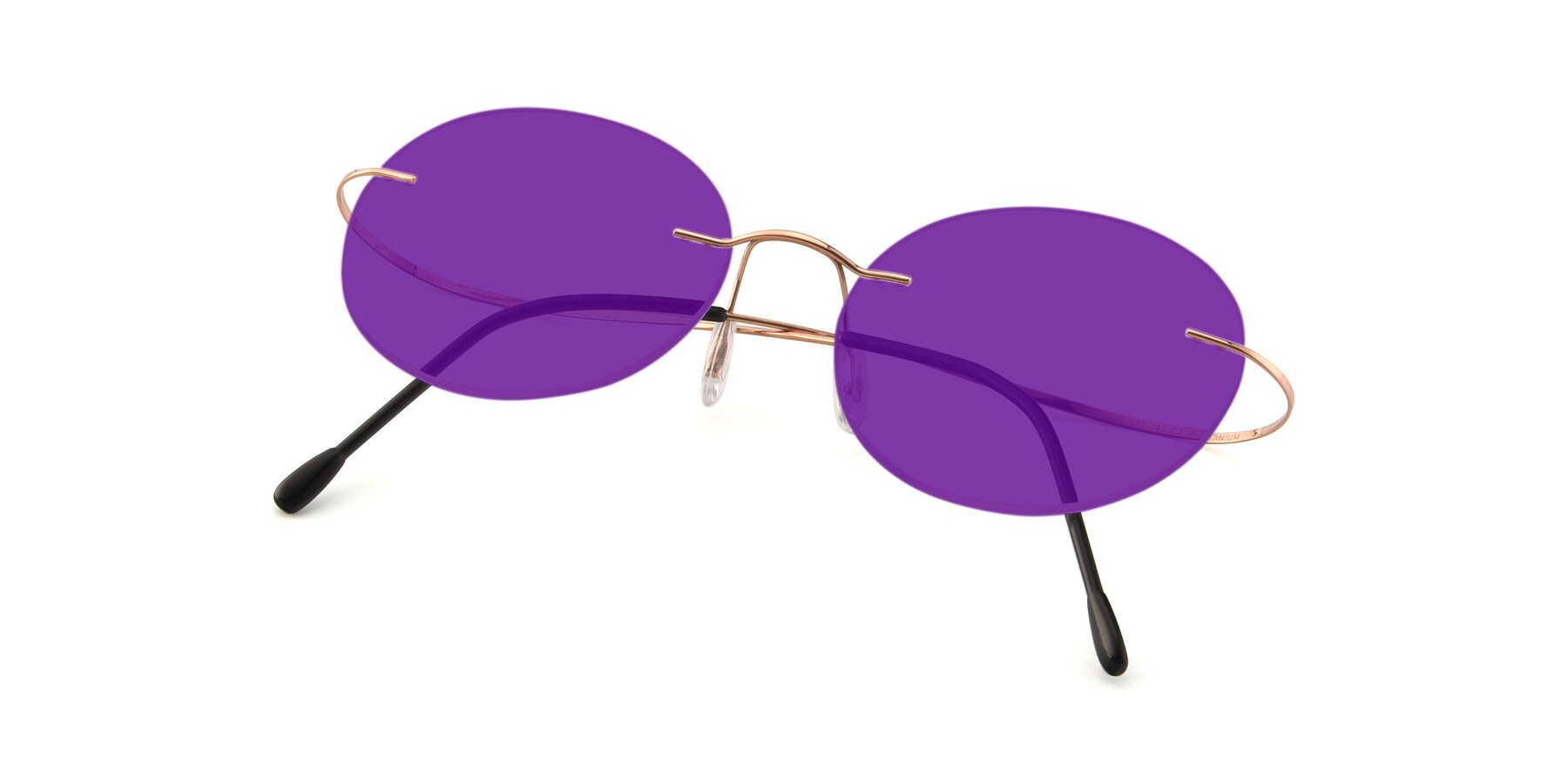View of Leon in Rose Gold with Purple Tinted Lenses