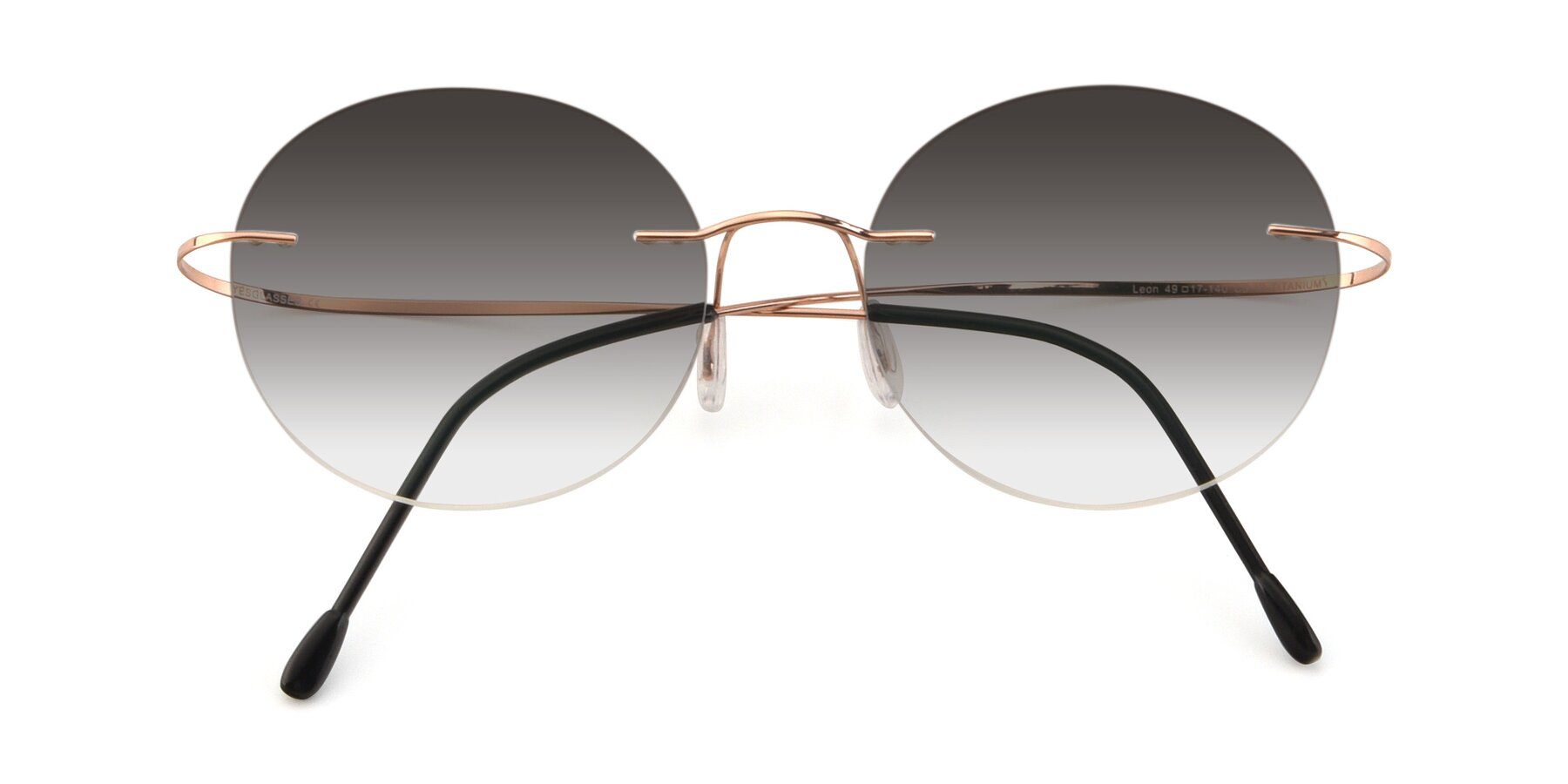 Folded Front of Leon in Rose Gold with Gray Gradient Lenses