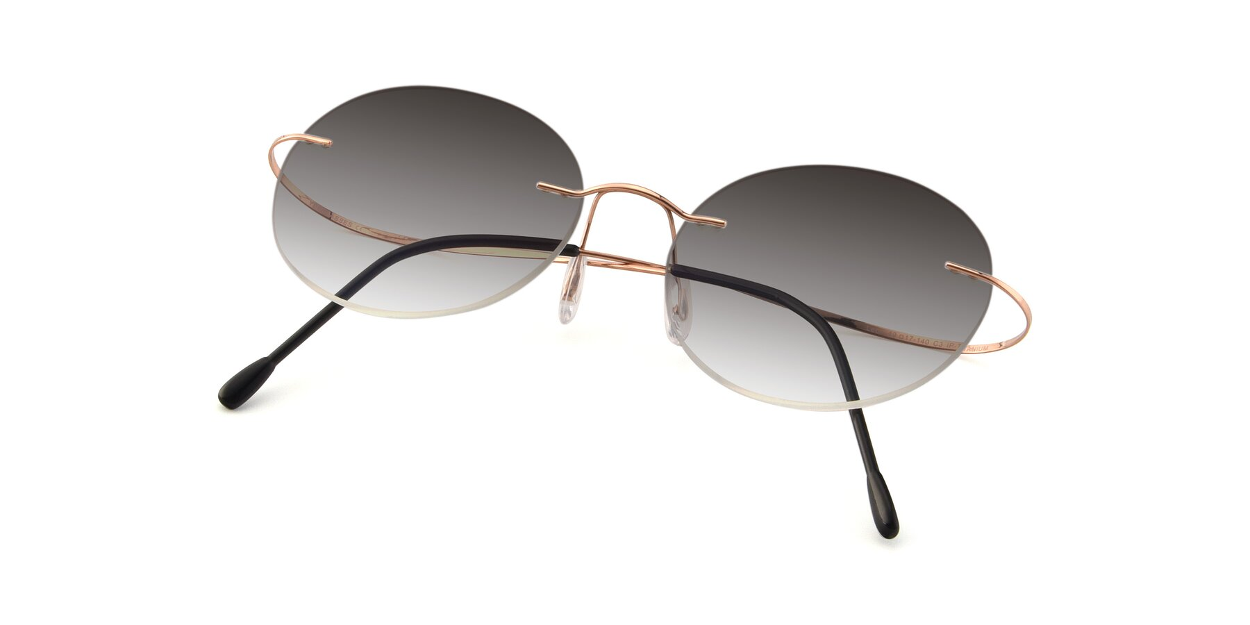 View of Leon in Rose Gold with Gray Gradient Lenses