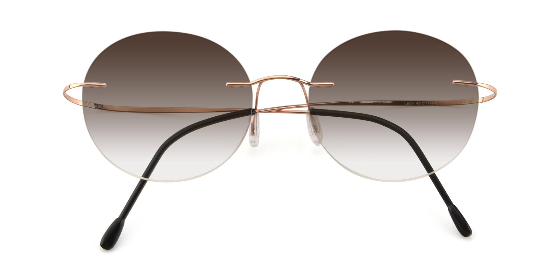 Folded Front of Leon in Rose Gold with Brown Gradient Lenses