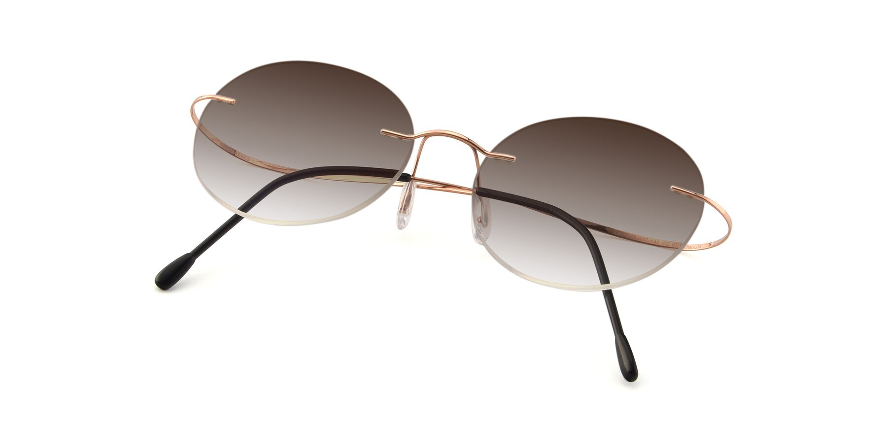 View of Leon in Rose Gold with Brown Gradient Lenses