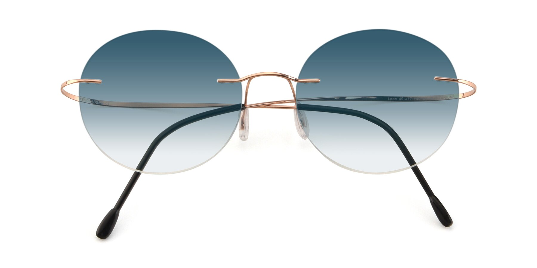 Folded Front of Leon in Rose Gold with Blue Gradient Lenses