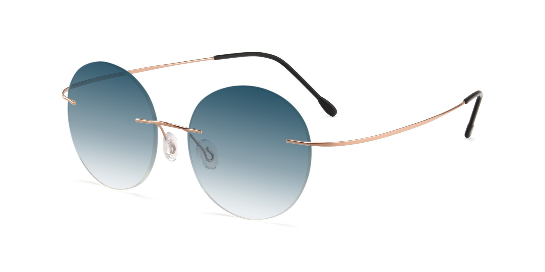 Angle of Leon in Rose Gold with Blue Gradient Lenses