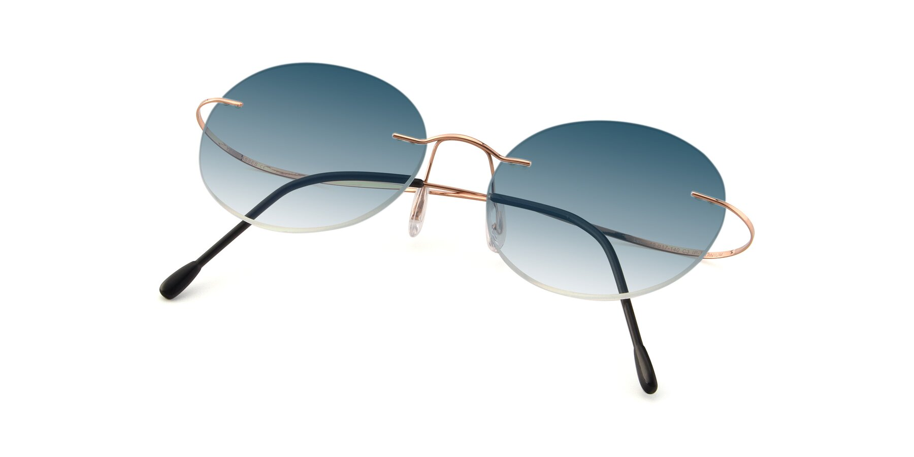 View of Leon in Rose Gold with Blue Gradient Lenses
