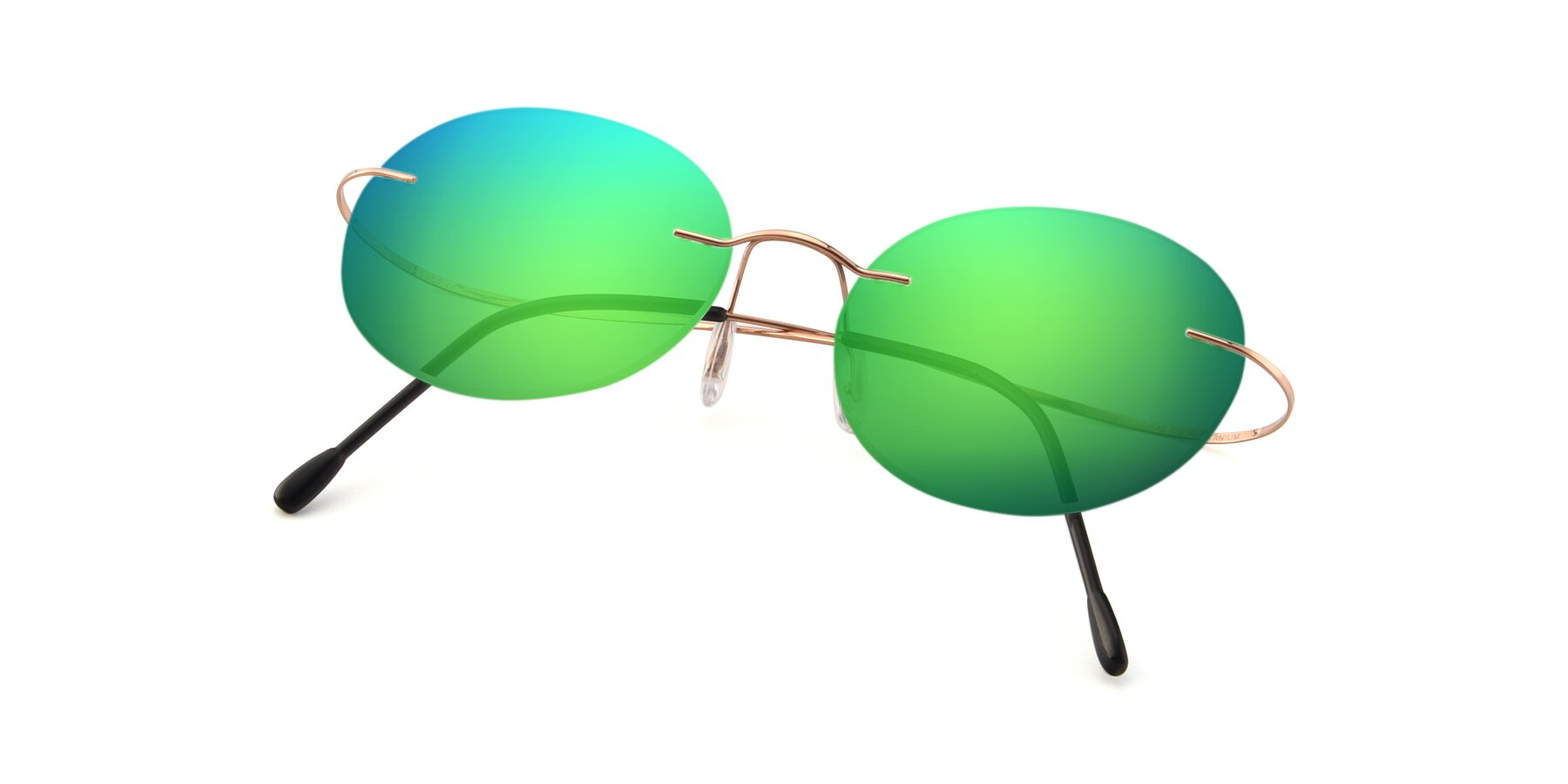 View of Leon in Rose Gold with Green Mirrored Lenses