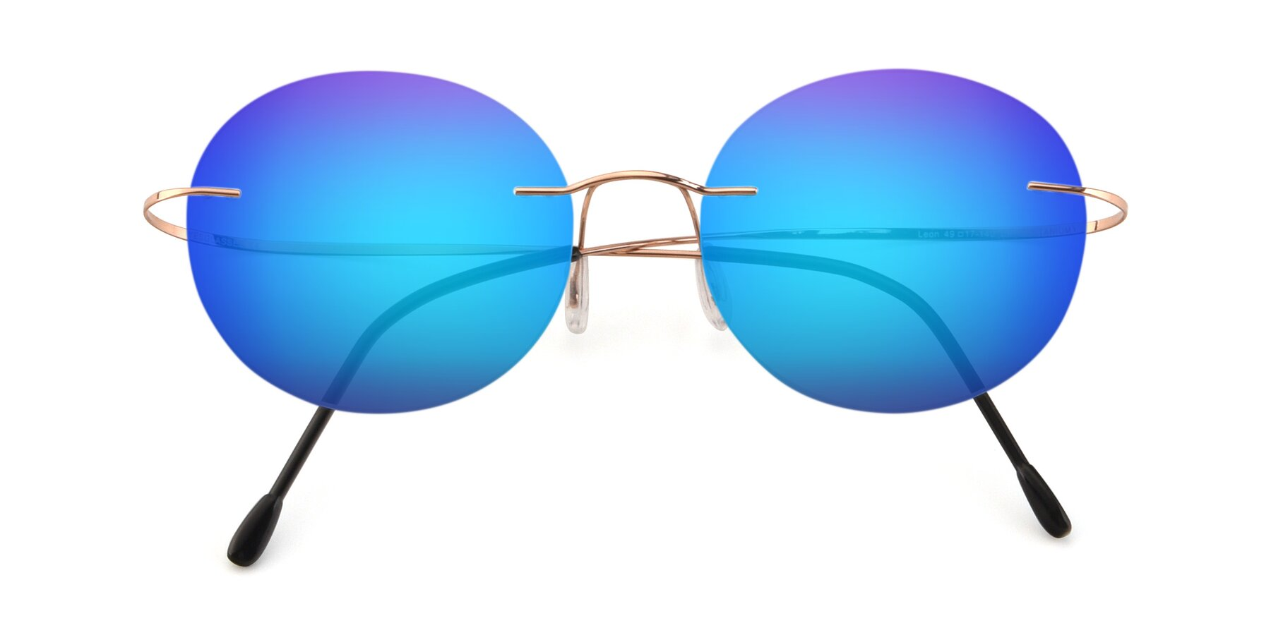 Folded Front of Leon in Rose Gold with Blue Mirrored Lenses