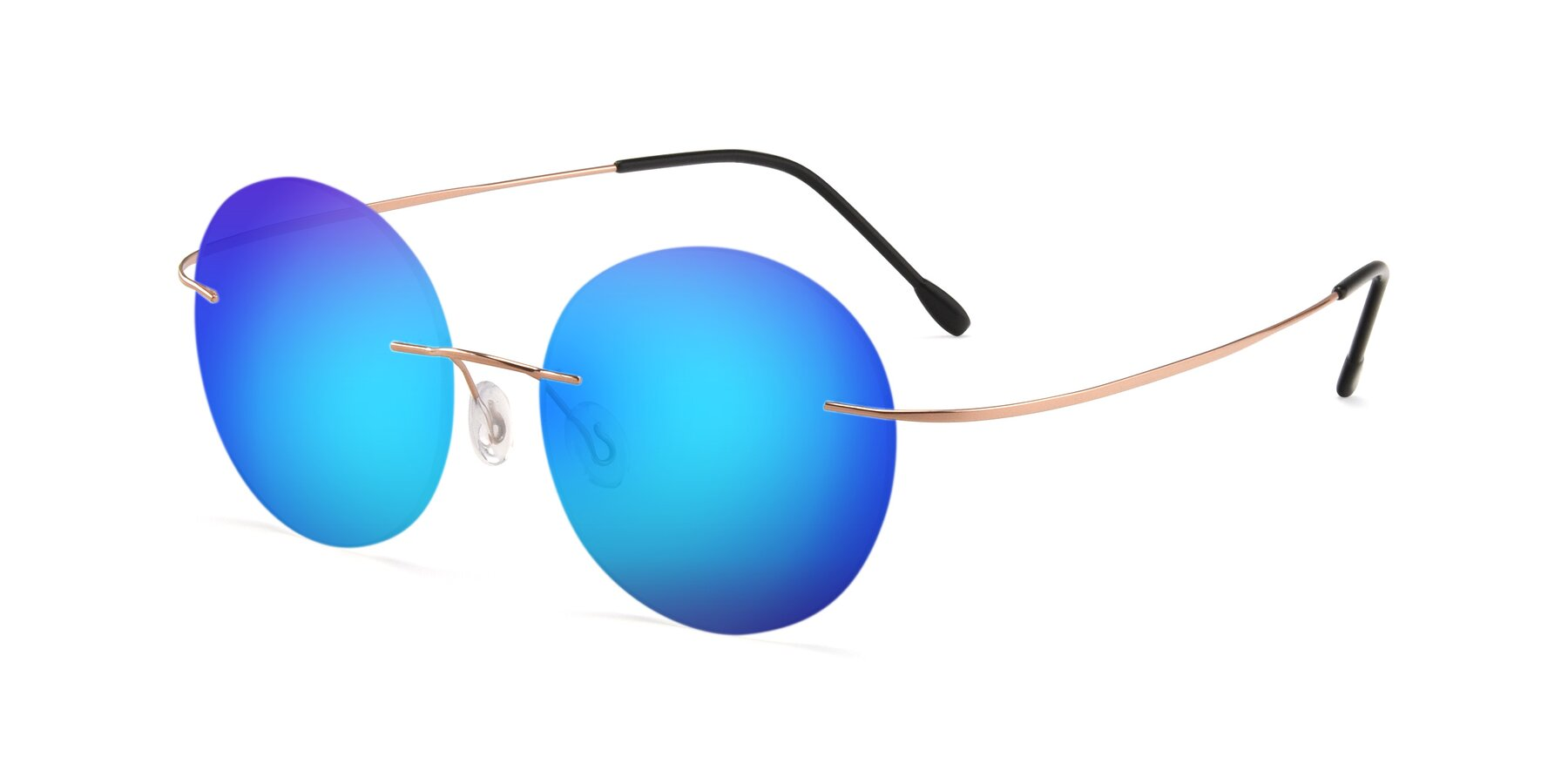 Angle of Leon in Rose Gold with Blue Mirrored Lenses