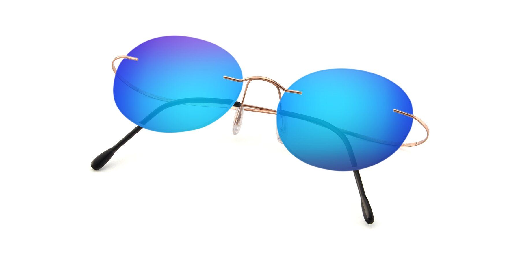 View of Leon in Rose Gold with Blue Mirrored Lenses