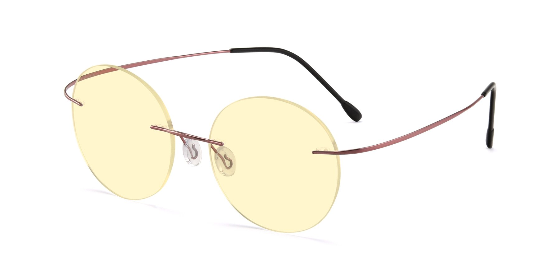 Angle of Leon in Light Pink with Light Yellow Tinted Lenses