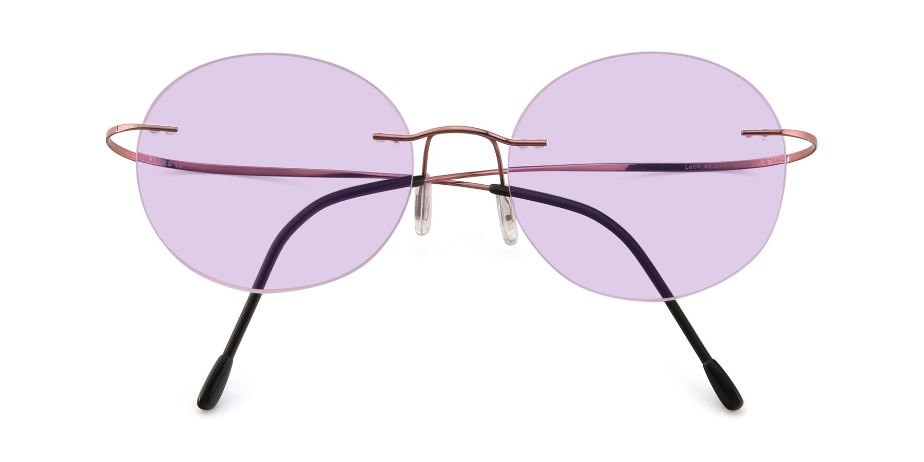 Folded Front of Leon in Light Pink with Light Purple Tinted Lenses