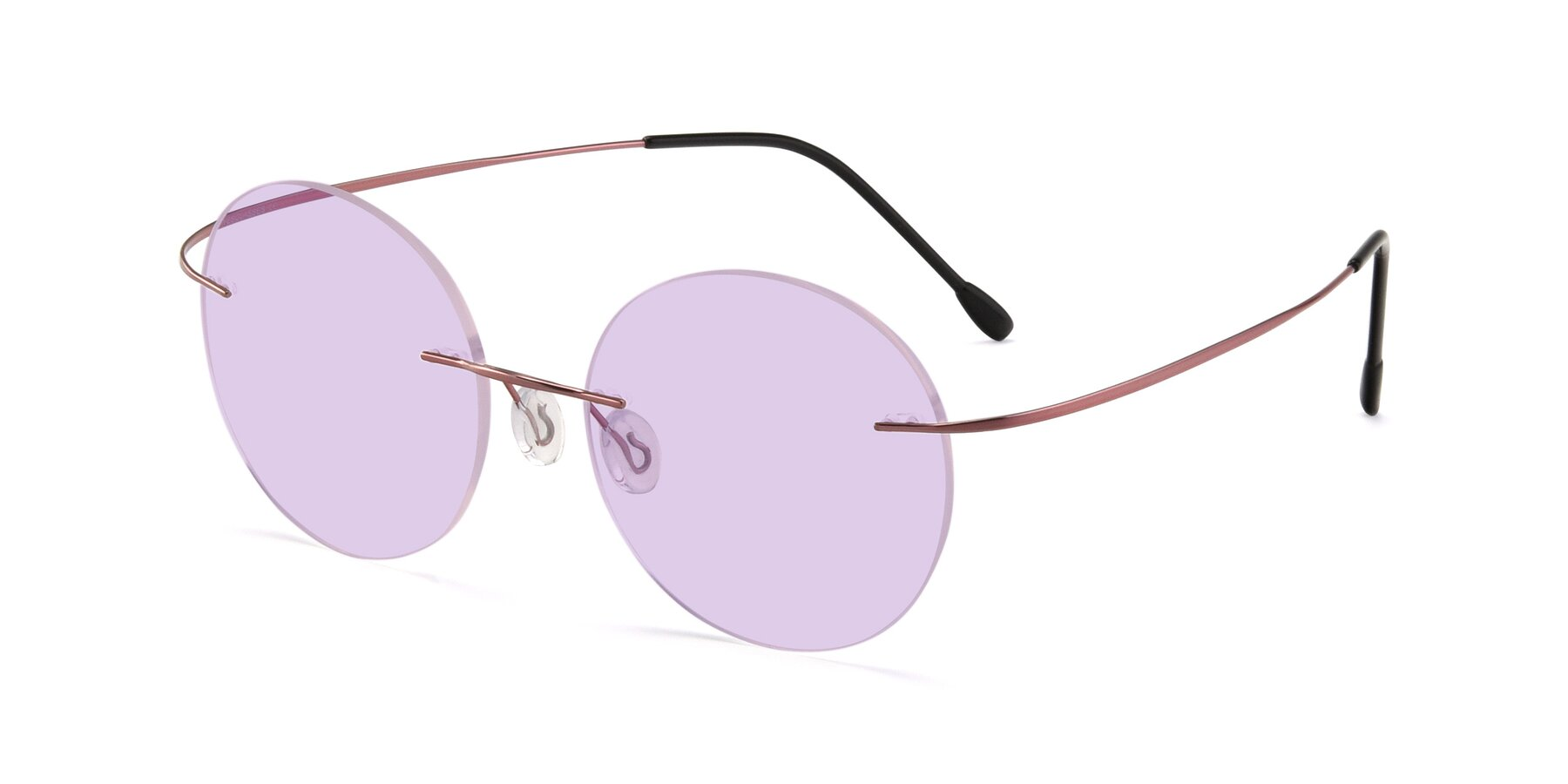 Angle of Leon in Light Pink with Light Purple Tinted Lenses