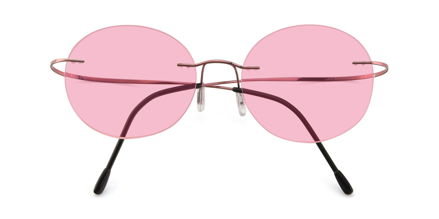 Folded Front of Leon in Light Pink with Medium Pink Tinted Lenses