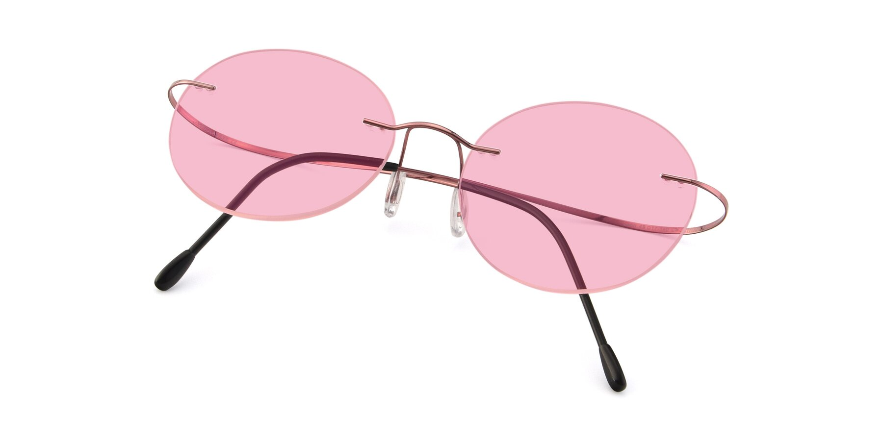 View of Leon in Light Pink with Medium Pink Tinted Lenses