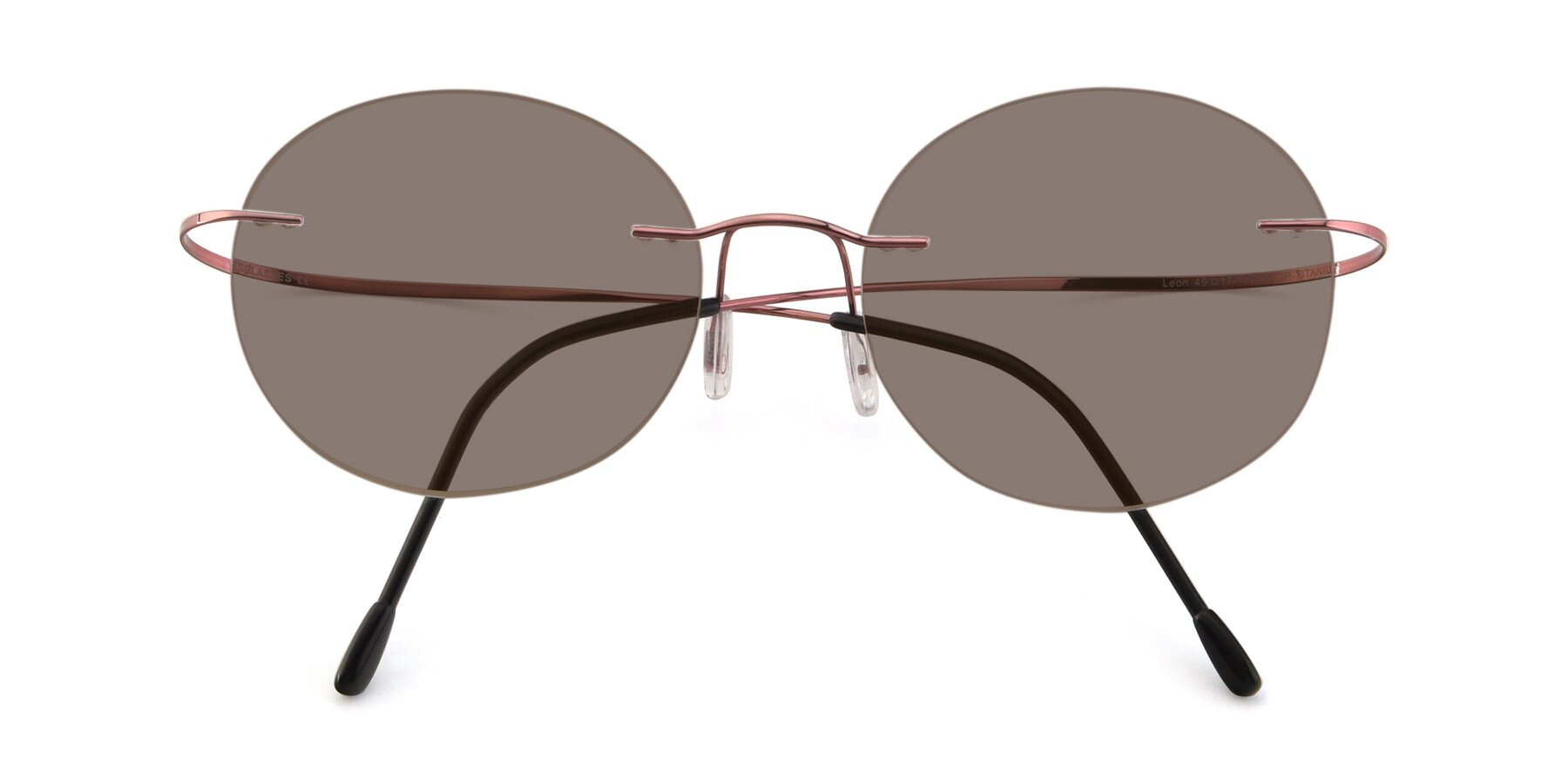 Folded Front of Leon in Light Pink with Medium Brown Tinted Lenses