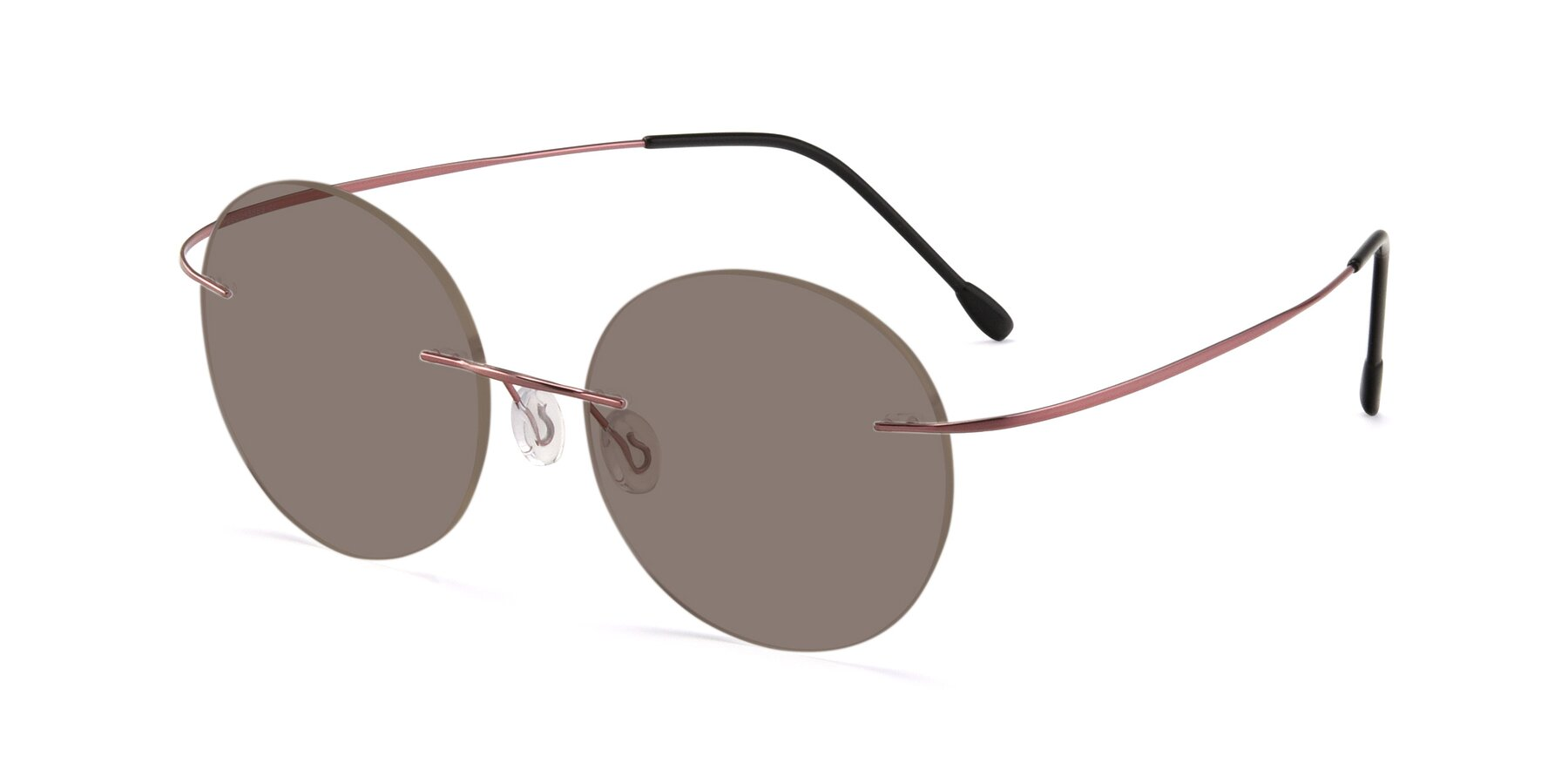 Angle of Leon in Light Pink with Medium Brown Tinted Lenses