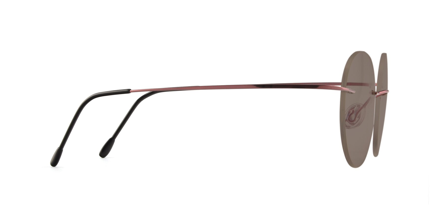 Side of Leon in Light Pink with Medium Brown Tinted Lenses