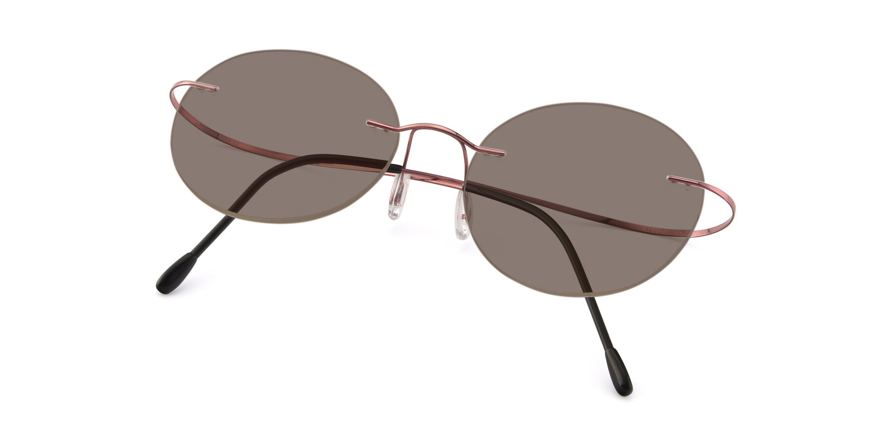 View of Leon in Light Pink with Medium Brown Tinted Lenses
