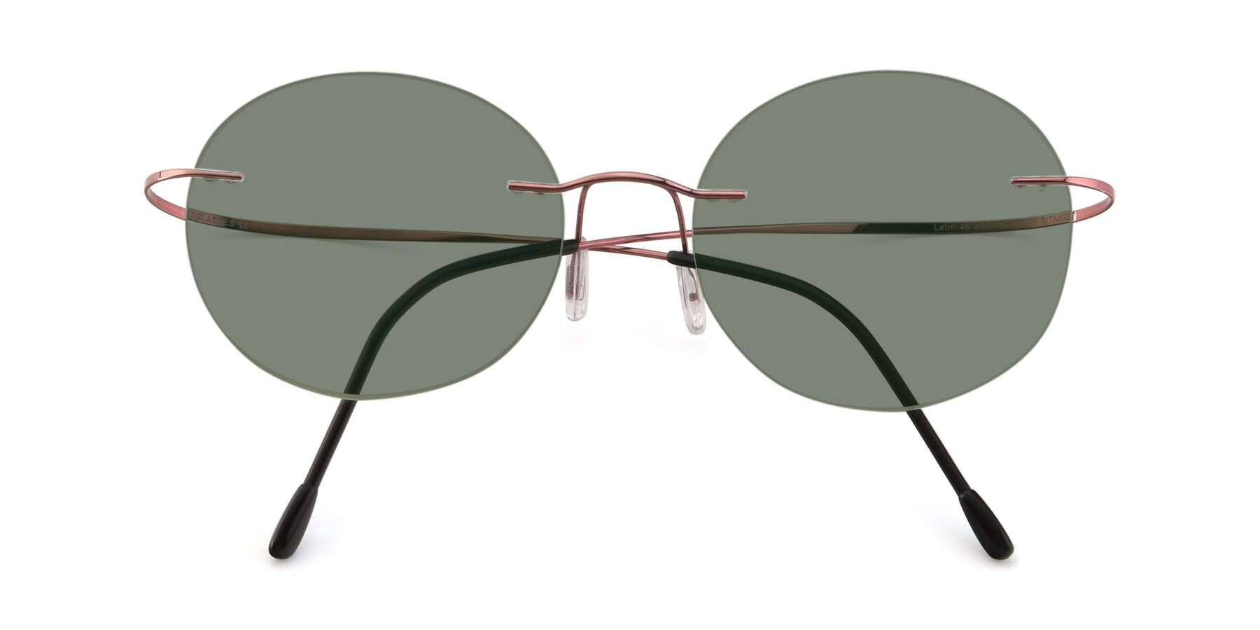 Folded Front of Leon in Light Pink with Medium Green Tinted Lenses