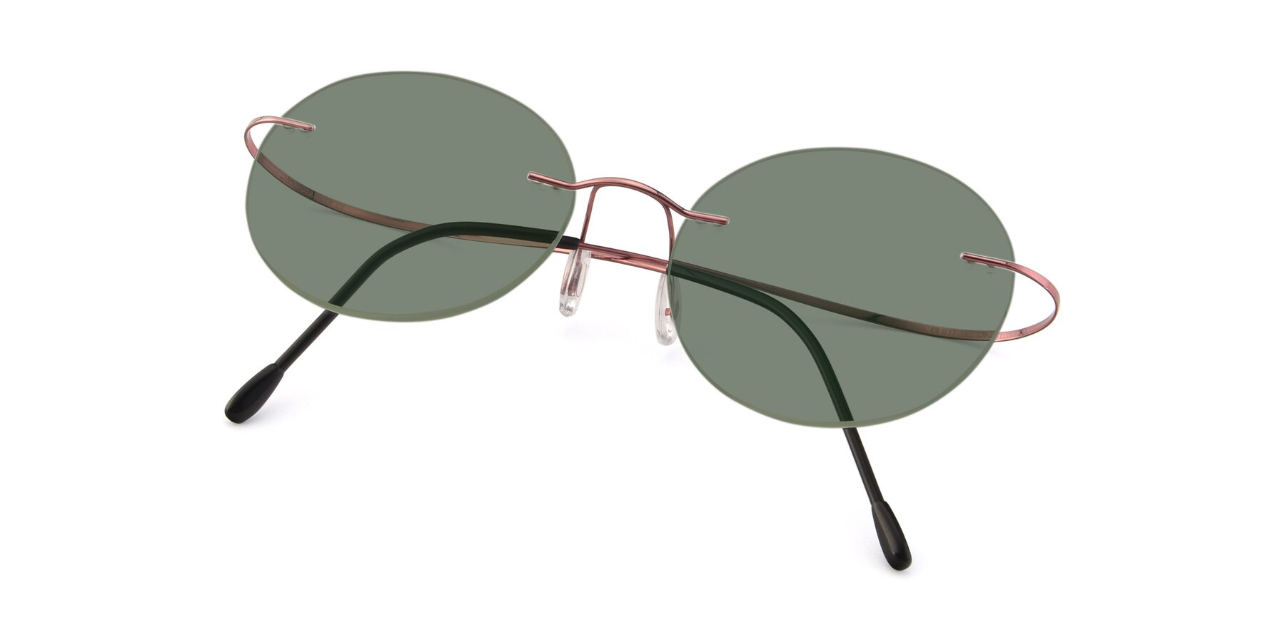 View of Leon in Light Pink with Medium Green Tinted Lenses