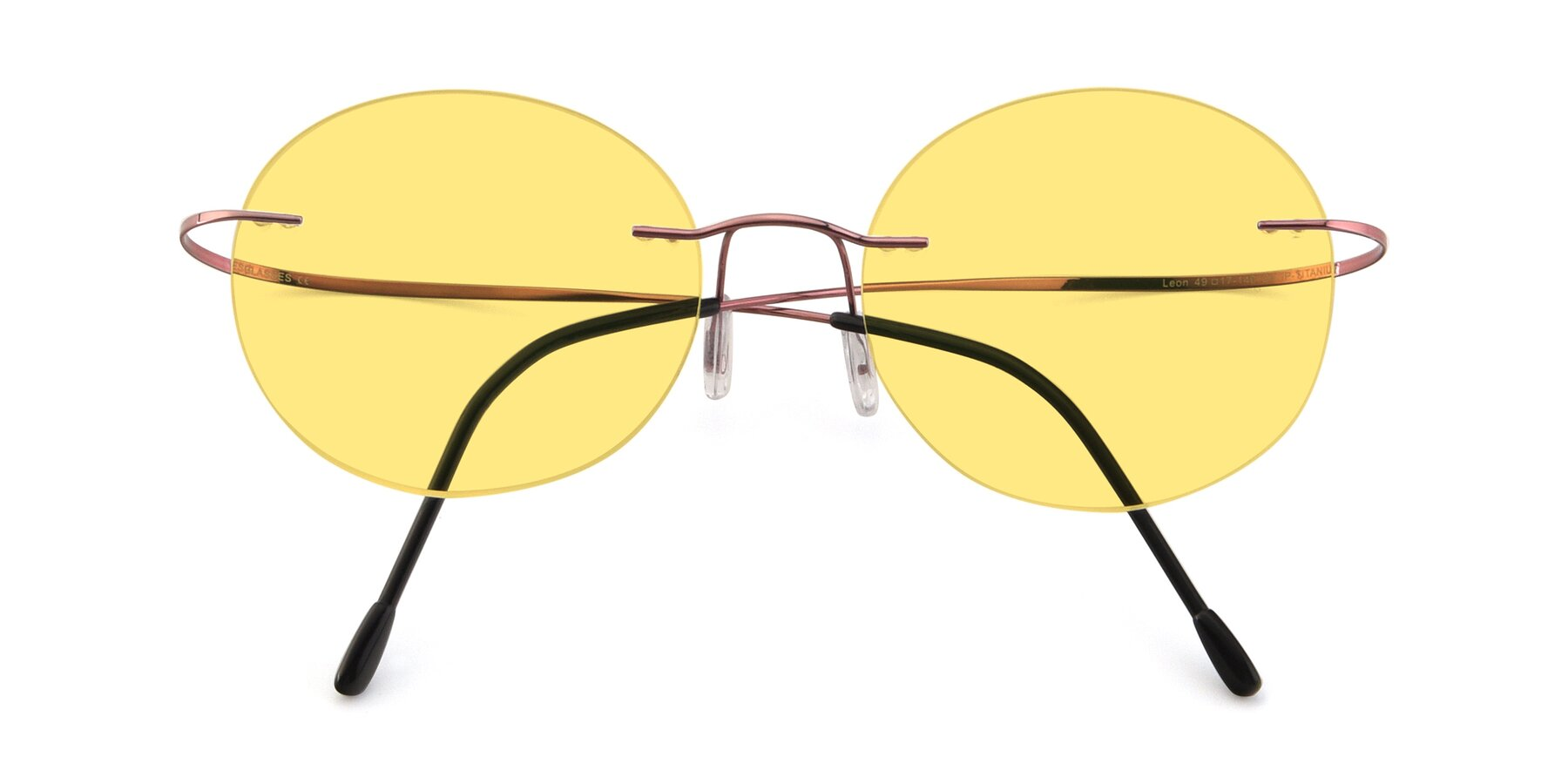 Folded Front of Leon in Light Pink with Medium Yellow Tinted Lenses