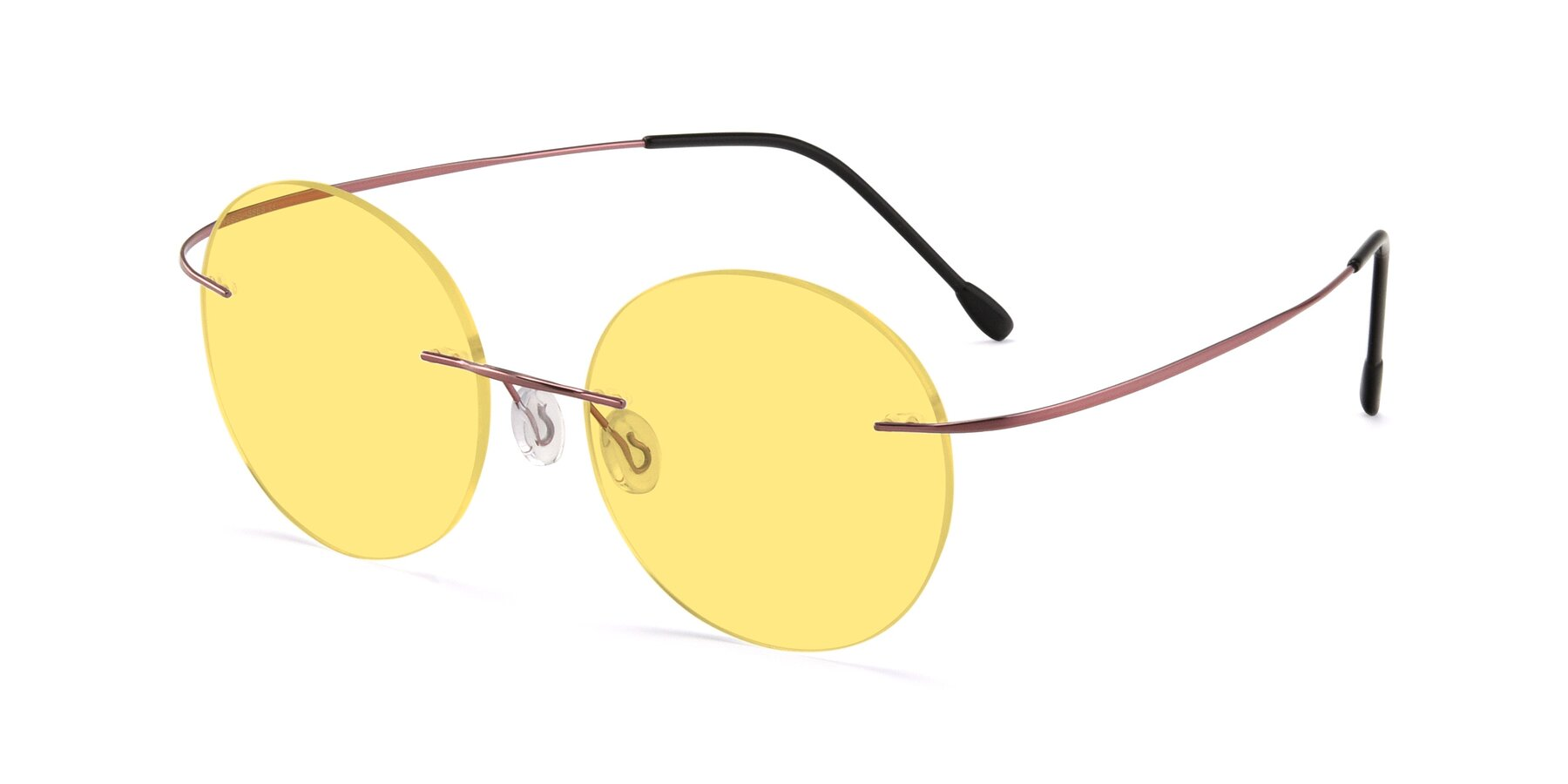 Angle of Leon in Light Pink with Medium Yellow Tinted Lenses