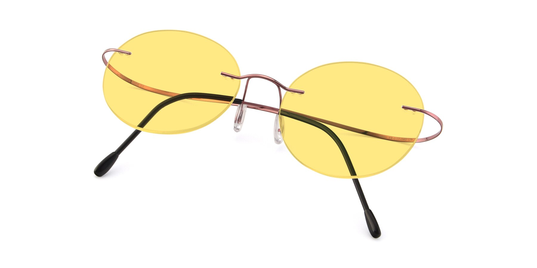 View of Leon in Light Pink with Medium Yellow Tinted Lenses