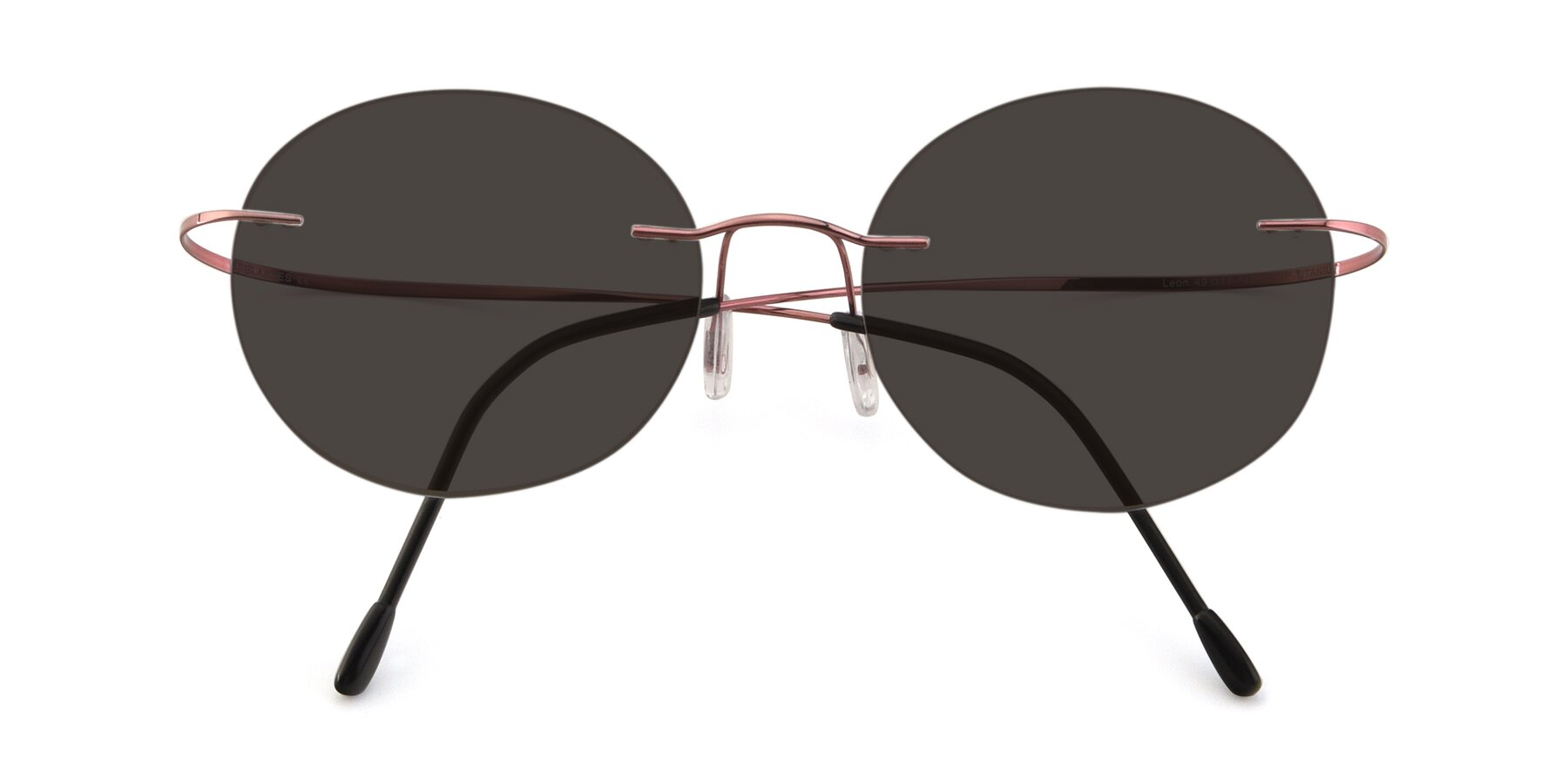 Folded Front of Leon in Light Pink with Gray Tinted Lenses