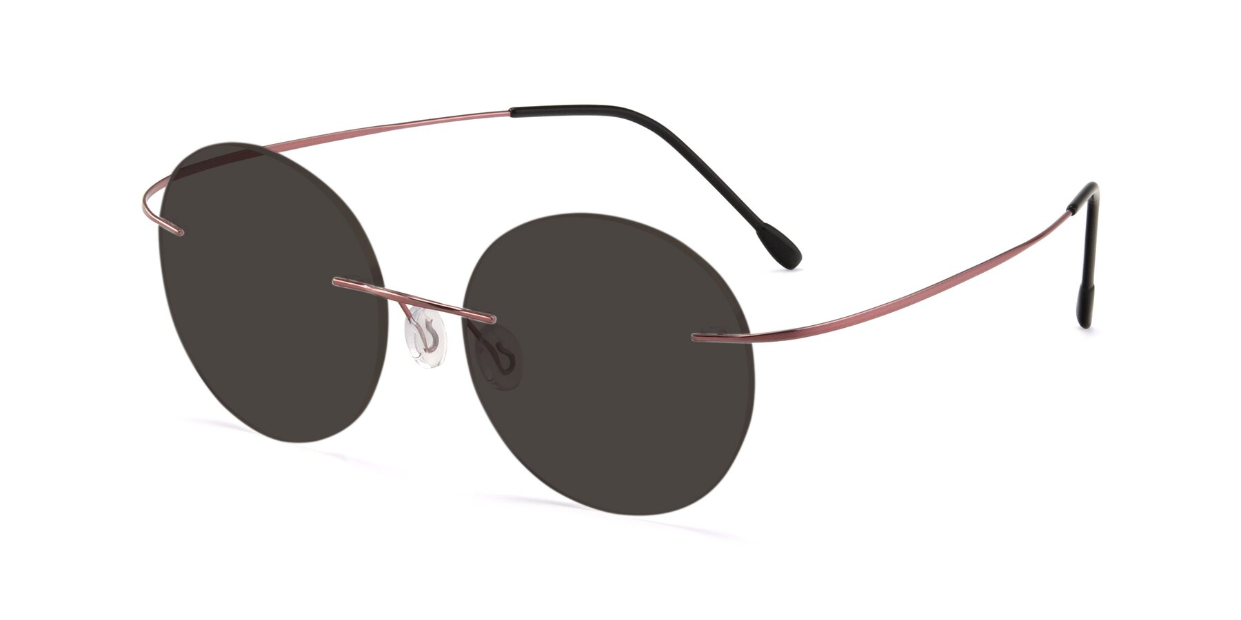 Angle of Leon in Light Pink with Gray Tinted Lenses