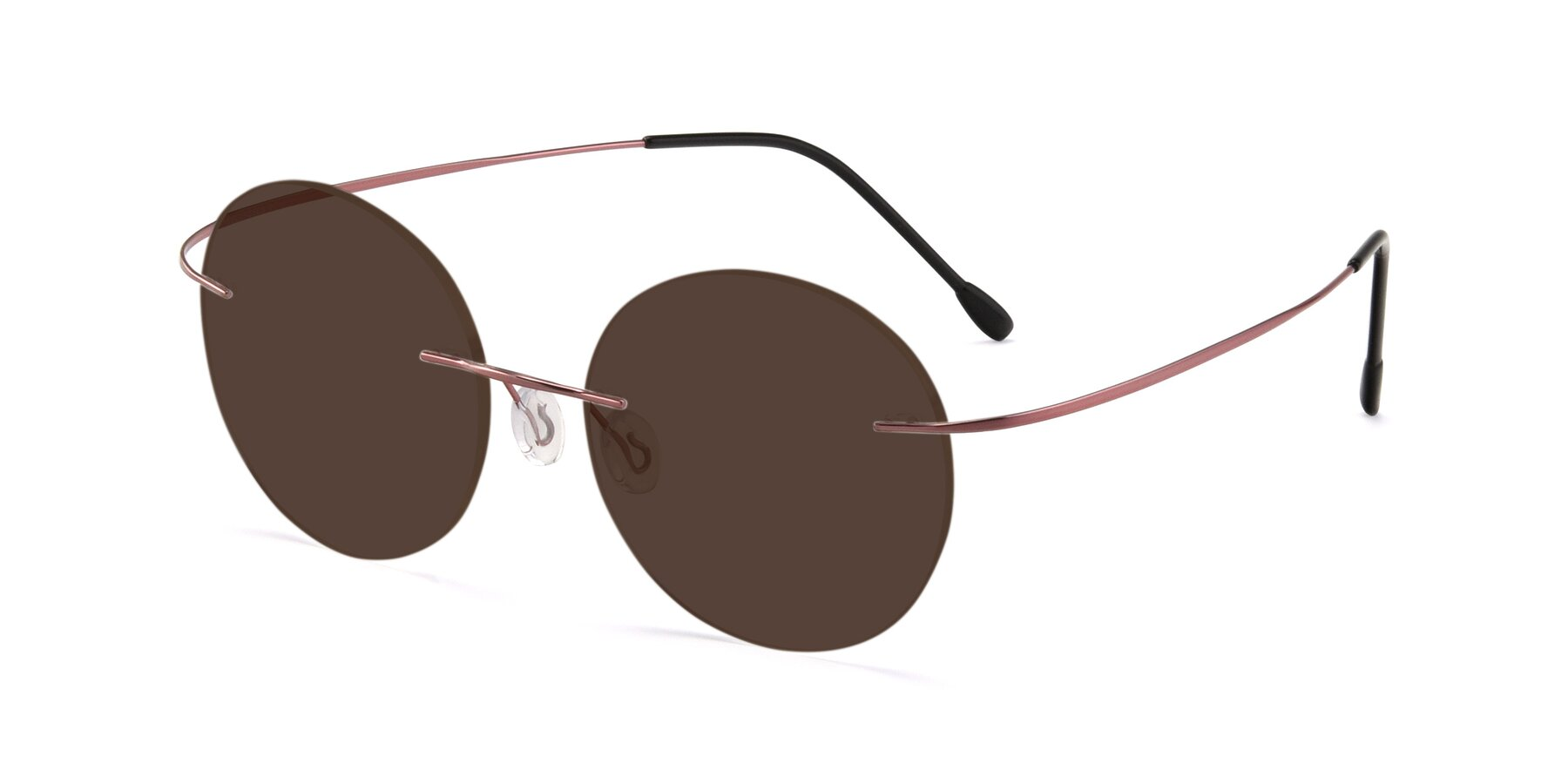 Angle of Leon in Light Pink with Brown Tinted Lenses