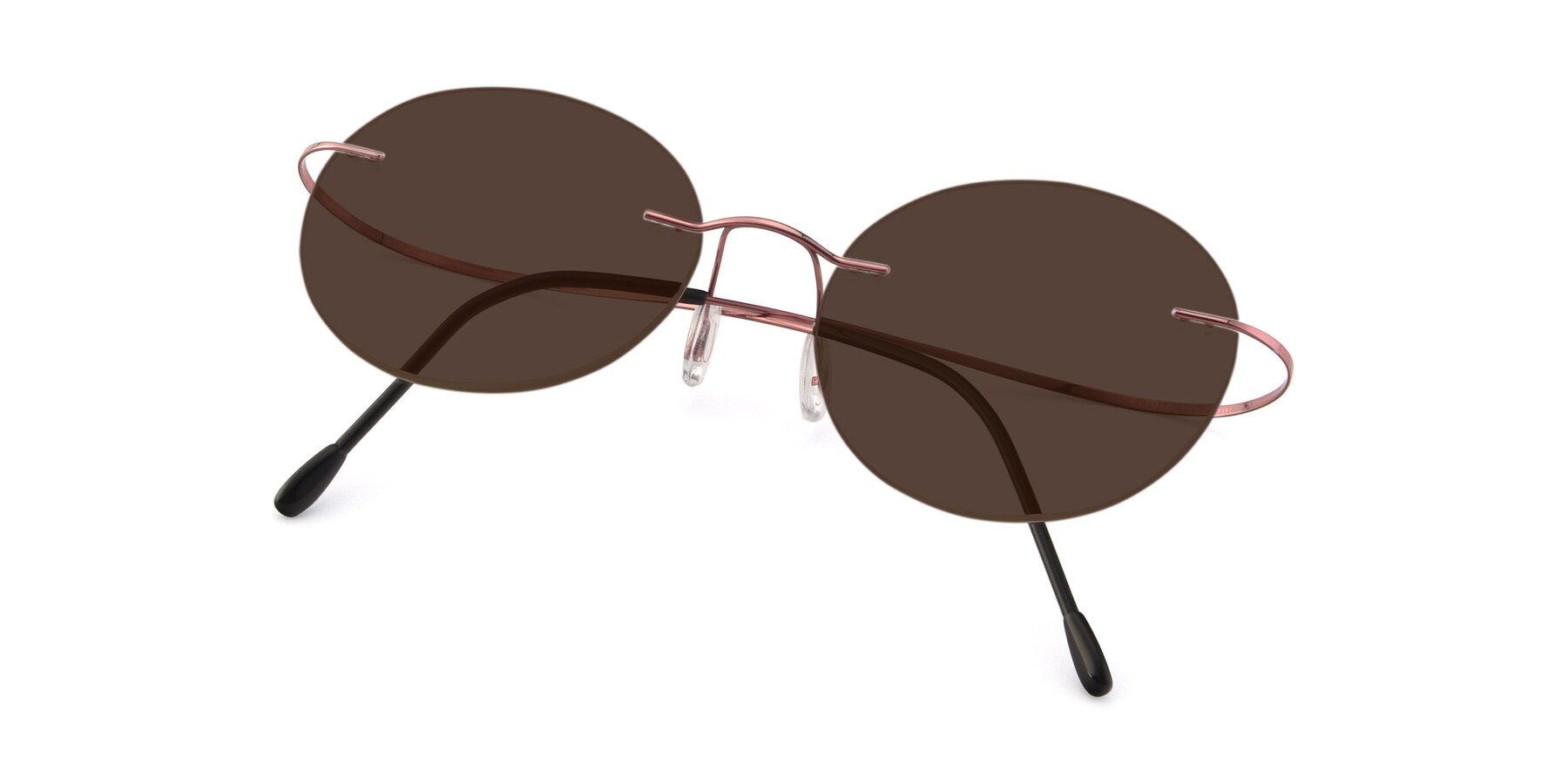 View of Leon in Light Pink with Brown Tinted Lenses